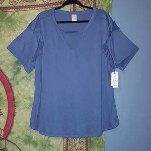 Atlantic blue ruffle sleeve gigi blouse